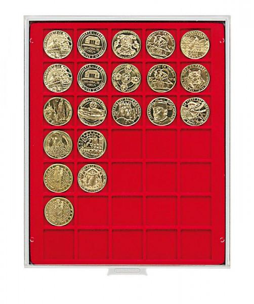 Velourseinlage, hellrot, mit 35 quadratischen Fächern für Münzen/Münzkapseln bis ø36 mm