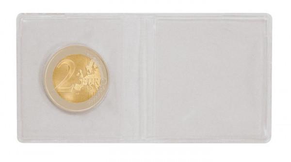 Doppel-Münz-Hülle aus PVC-Folie zum Zusammenfalten, 95 x 48 mm, 100er-Packung