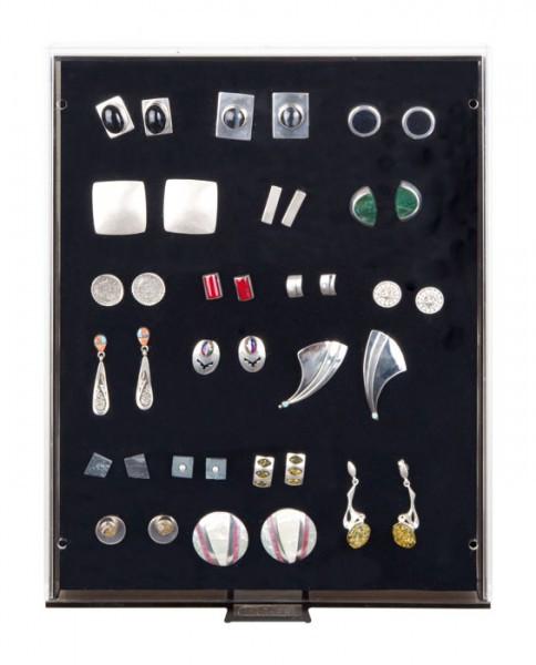 Sammelbox RAUCHGLAS mit schwarzer Schaumstoffeinlage für PINs / Orden / Abzeichen
