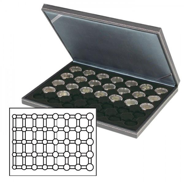 Münzkassette NERA M mit schwarzer Münzeinlage für 5 Euro-Kursmünzensätze in LINDNER Münzkapseln