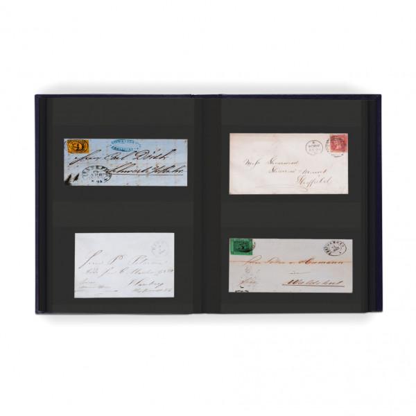 Einsteckalbum für 128 Briefe und Postkarten, 64 schwarze Seiten, wattierter Einband, blau