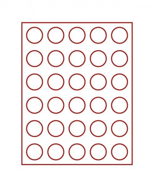 Velourseinlage, dunkelrot, mit 30 runden Vertiefungen für Münzen mit ø36 mm
