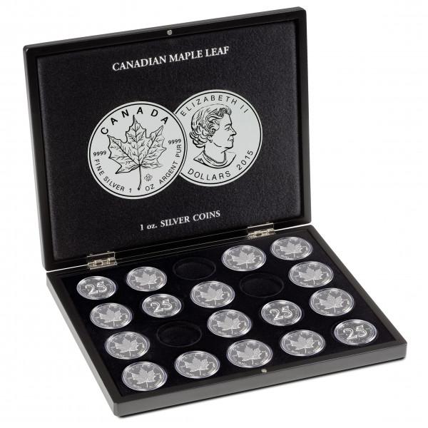 Münzkassette für 20 Maple Leaf-Silberunzen in Kapseln, schwarz