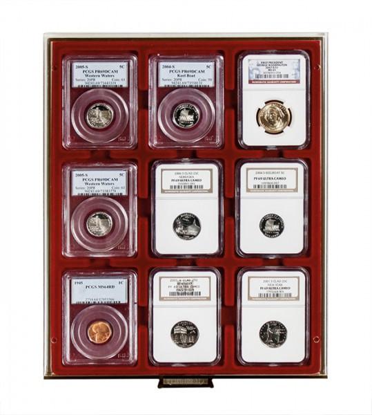 Velourseinlage, dunkelrot, für 9 US-Münzkapseln (Slabs) bis zu einem Format von 63x85 mm