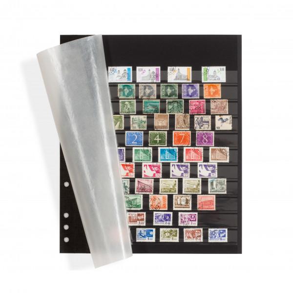 Einsteckblätter OMEGA, schwarzer Karton mit 11 Klarsichtstreifen und Pergamindeckblatt, 5er Pack