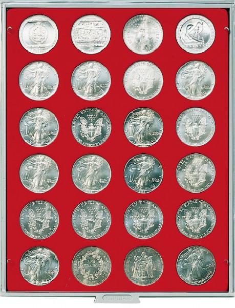 Velourseinlage, hellrot, mit 24 runden Vertiefungen für Münzen mit ø41 mm