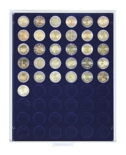 Münzbox MARINE mit 54 runden Vertiefungen für Münzen mit ø25,75 mm, z.B. für 2 Euro-Münzen