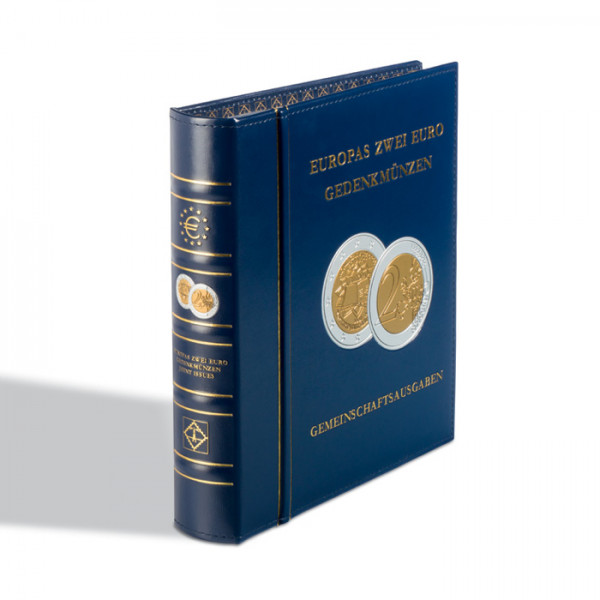 Münzalbum Classic-OPTIMA,Europas 2-Euro-Gemeinschaftsausgaben, inkl.Schutzkassette, blau