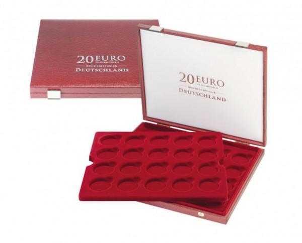 Luxus-Kassette für original verkapselte 20 Euro-Silbermünzen Bundesrepublik Deutschland in Spiegelglanz