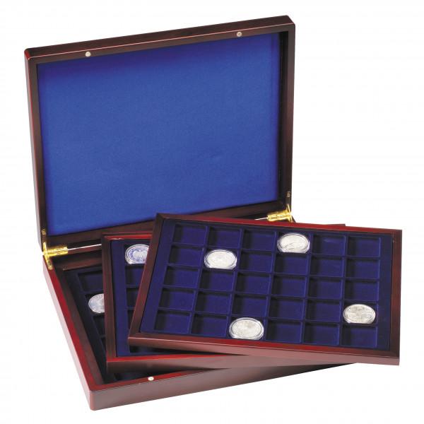Münzkassette VOLTERRA TRIO deLuxe, mit 90 eckigen Fächern für Münzen bis 39 mm Ø