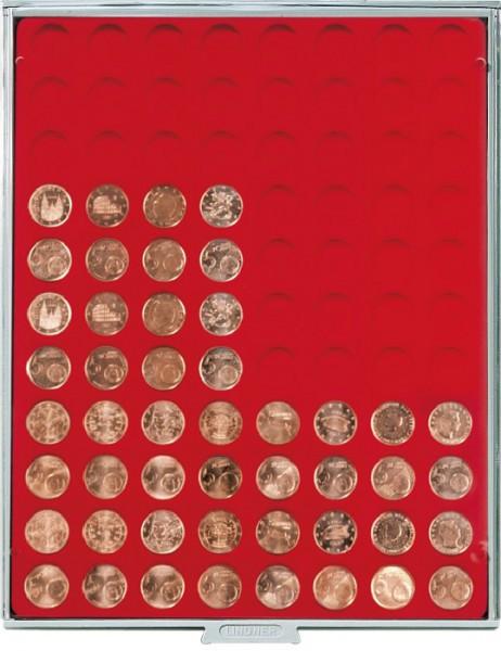 Velourseinlage, hellrot, mit 88 runden Vertiefungen für Münzen mit ø21,5 mm