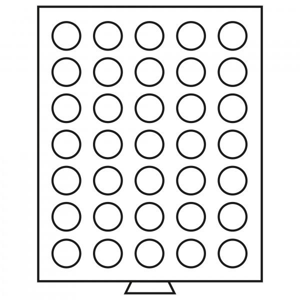 Münzbox 35 runde Fächer (32,5mm), rauchfarben