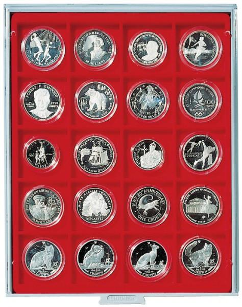 Münzbox STANDARD mit 20 extra tiefen quadratischen Fächern für Münzen/Münzkapseln bis Außen-ø51 mm