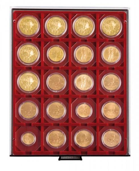Münzbox RAUCHGLAS mit 20 quadratischen Fächern für Münzrähmchen 50x50 mm/Münzkapseln CARRÉE/OCTO Münzkapseln