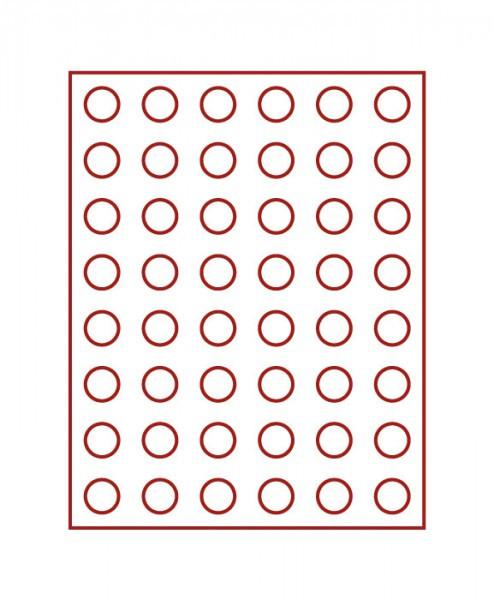 Velourseinlage, dunkelrot, mit 48 runden Vertiefungen für Münzen mit ø24,25 mm