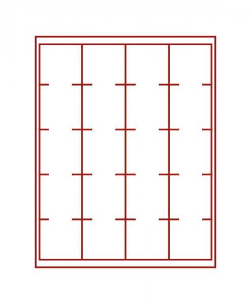 Velourseinlage, dunkelrot, mit 20 quadratischen Fächern für LINDNER Velourseinlage-Inletts 51x51 mm