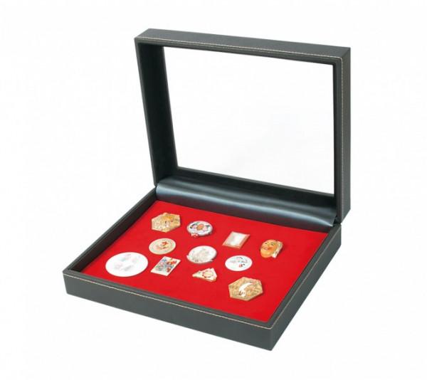 Sammelkassette NERA VARIUS PLUS mit hellroter Schaumstoffeinlage für Pins, Orden, Abzeichen