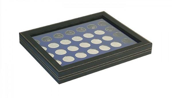 Münzkassette NERA M PLUS mit dunkelblauer Münzeinlage mit 35 runden Vertiefungen für Münzen mit ø 32,5 mm, z.B. für deutsche 20 Euro- bzw. 10 Euro-Silbermünzen