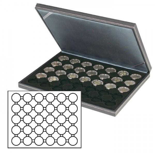 Münzkassette NERA M mit schwarzer Münzeinlage mit 30 runden Vertiefungen für Münzkapseln mit Außen-ø 39,5 mm, z.B. für deutsche 20 Euro-/10 Euro-Silbermünzen in LINDNER Münzkapseln
