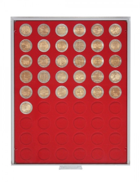 Velourseinlage, hellrot, mit 54 runden Vertiefungen für Münzen mit ø25,75 mm, z.B. für 2 Euro-Münzen