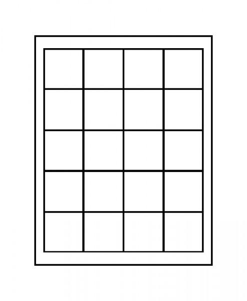 Velourseinlage, dunkelblau, mit 20 quadratischen Fächern für Münzen/Münzkapseln bis ø47 mm