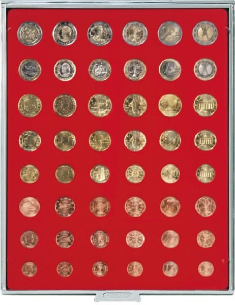 Velourseinlage, hellrot, für 6 Euro-Kursmünzensätze