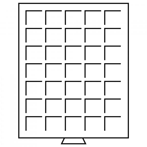 Münzbox 35 eckige Fächer bis 35 mm Ø, grau