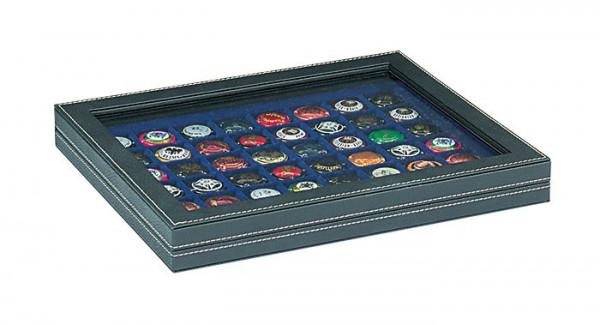 Münzkassette NERA M PLUS mit dunkelblauer Münzeinlage mit 48 quadratischen Fächern für Münzen/Münzkapseln bis ø 30 mm oder Champagner-Kapseln