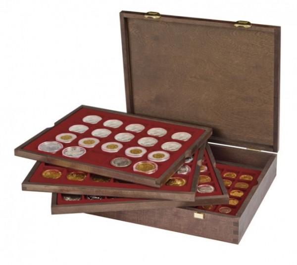 Echtholz Münzkassette mit 4 Tableaus für 127 Münzen unterschiedlicher Durchmesser - SONDEREDITION