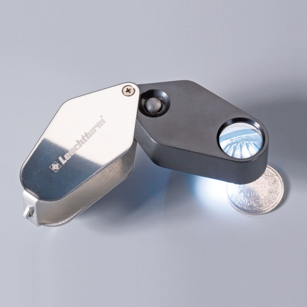 LED-Einschlaglupe, 10-fache Vergrößerung, schwarz, Ø 18 mm