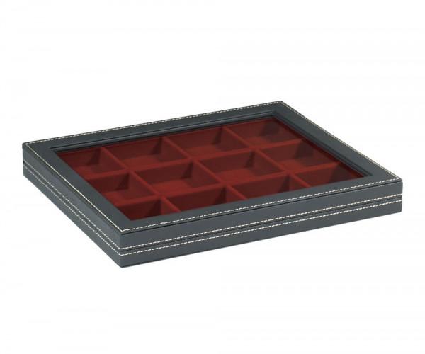 Sammelkassette NERA M mit Sichtfenster mit dunkelroter Einlage mit 12 quadratischen Fächern