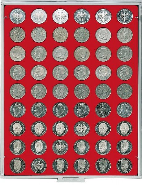 Velourseinlage, hellrot, mit 54 runden Vertiefungen für Münzen mit ø26,75 mm