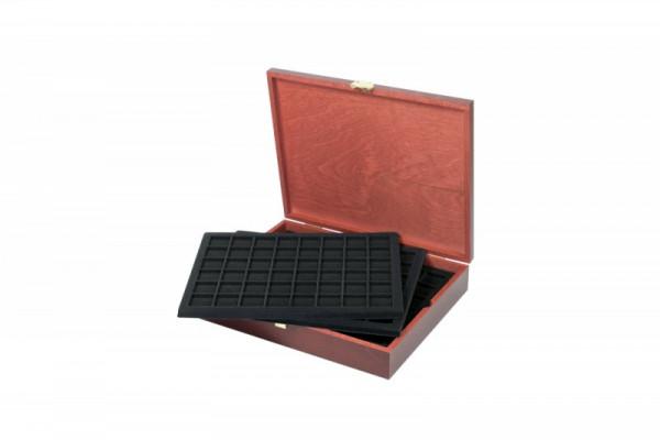 Echtholz Münzkassette für 240 Münzen/Münzkapseln bis ø 30 mm, z.B für 2 Euro-Münzen und Champagner-Kapseln - SONDEREDITION