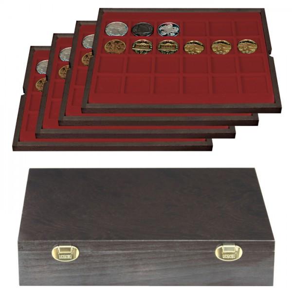 Echtholzkassette CARUS mit 4 Tableaus für 96 Münzen/Münzkapseln bis ø 42 mm