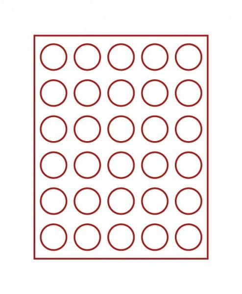 Velourseinlage, dunkelrot, mit 30 runden Vertiefungen für Münzen mit ø37 mm