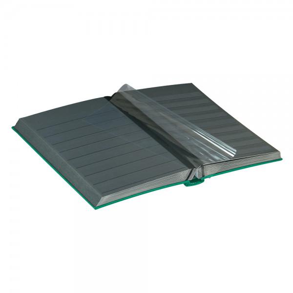 Einsteckbuch DIAMANT, grün, wattiert, 60 schwarze Seiten, durchgehende Klarsichtfolien-Streifen, 230 x 305 mm