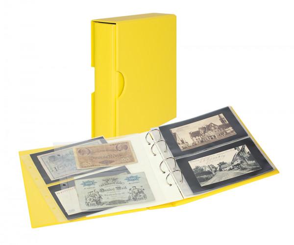 PUBLICA M COLOR Banknotenalbum mit 10 beidseitig bestückbaren Folienblättern in zwei Ausführungen mit passender Schutzkassette