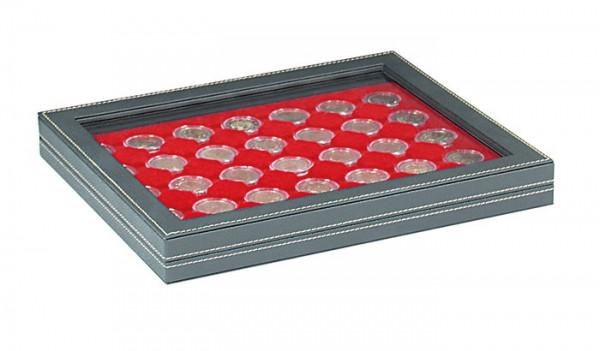 Münzkassette NERA M PLUS mit hellroter Münzeinlage mit 35 runden Vertiefungen für Münzkapseln mit Außen-ø 32 mm, z.B. für 2 Euro-Münzen in LINDNER Münzkapseln
