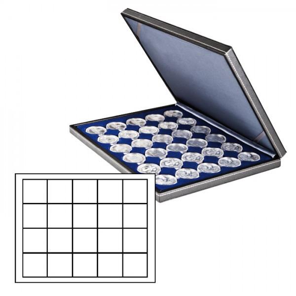 Münzkassette NERA M mit dunkelblauer Münzeinlage mit 20 quadratischen Fächern für Münzen/Münzkapseln bis ø 47 mm
