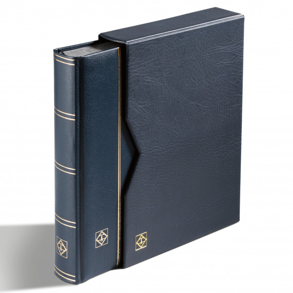 Einsteckbuch PREMIUM, DIN A4, 32 schwarze Seiten, wattierter Ledereinb.* inkl. Kassette