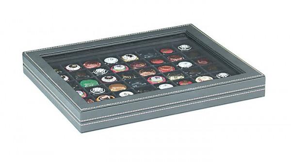 Münzkassette NERA M PLUS mit schwarzer Münzeinlage mit 48 quadratischen Fächern für Münzen/Münzkapseln bis ø 30 mm oder Champagner-Kapseln