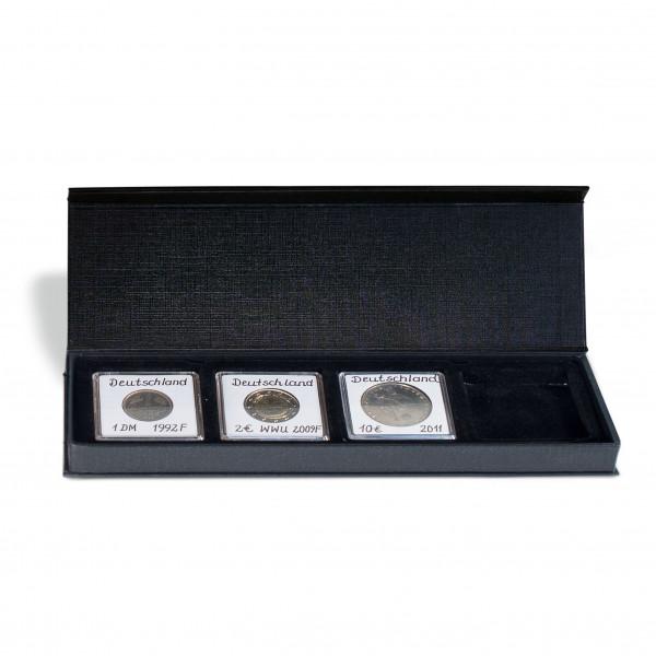 Münzetui AIRBOX mit Aufstellfunktion für 4 QUADRUM-Kapseln, schwarz