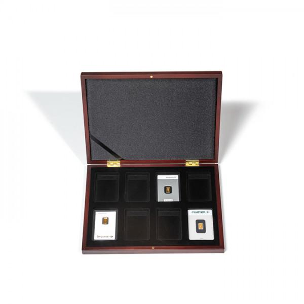 Kassette VOLTERRA für 8x Goldbarren in Blisterverpackung, Mahagoni