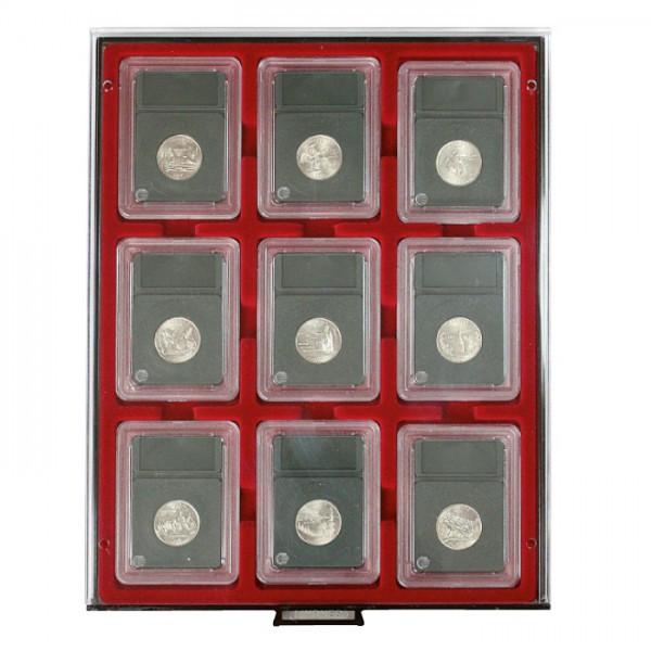 Münzbox RAUCHGLAS für 9 US-Münzkapseln (Slabs) bis zu einem Format von 63x85 mm