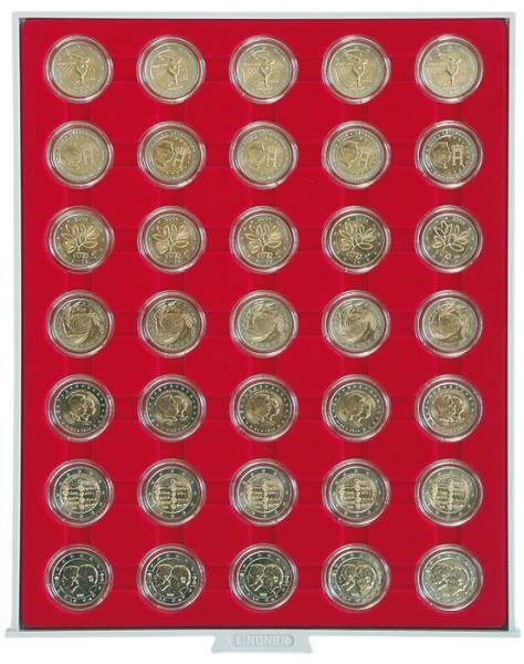 Velourseinlage, hellrot, mit 35 runden Vertiefungen für Münzkapseln mit Außen-ø32 mm, z.B. für 2 Euro-Münzen in LINDNER Münzkapseln