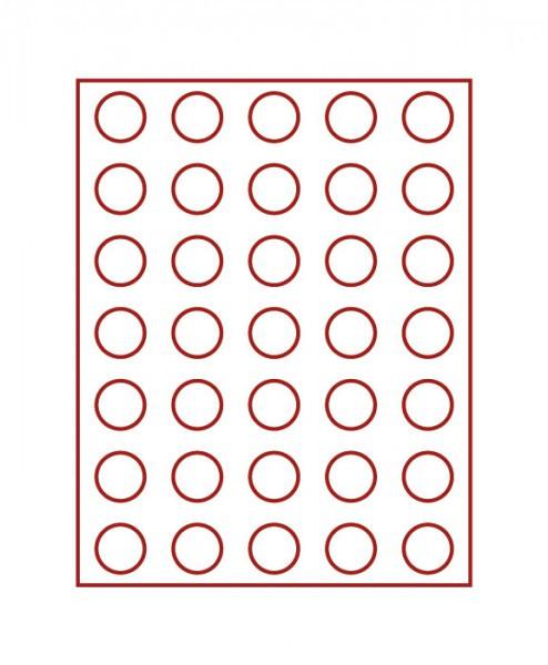 Velourseinlage, dunkelrot, mit 35 runden Vertiefungen für Münzen mit ø31 mm