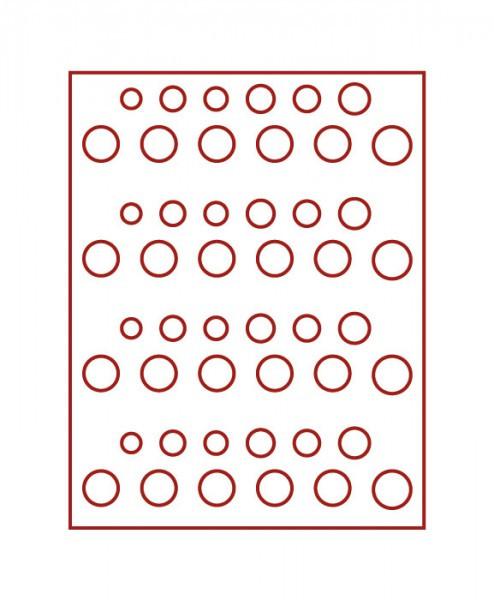 Velourseinlage, dunkelrot, für 4 DM-Kursmünzensätze