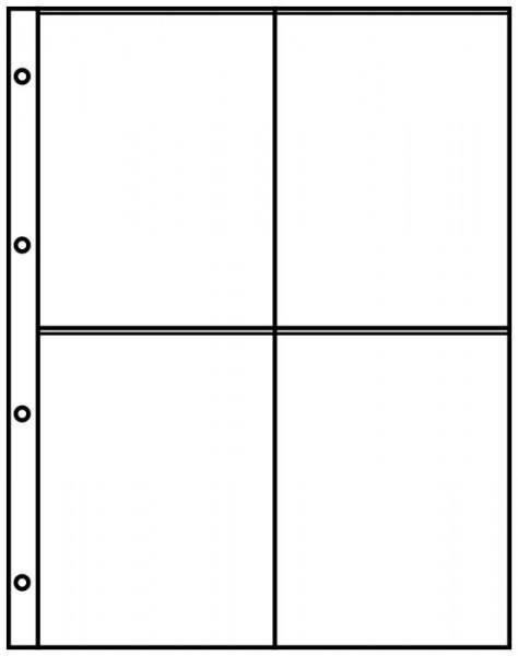 Einsteckblätter A4 schwarz mit 4 Taschen (109 x 145 mm), schwarz, 10er-Packung