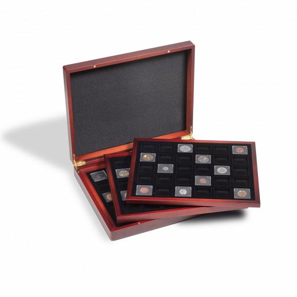 Münzkassette VOLTERRA TRIO für 3x 30 QUADRUM Mini Münzkapseln, 38 x 38mm, schwarz
