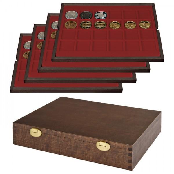 Echtholz Münzkassette mit 4 Tableaus für 96 Münzen/Münzkapseln bis ø 42 mm - SONDEREDITION